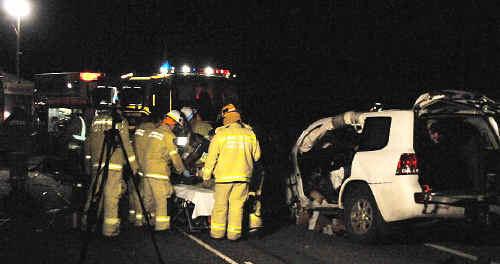 The scene of the three-vehicle crash on the Capricorn Hwy.