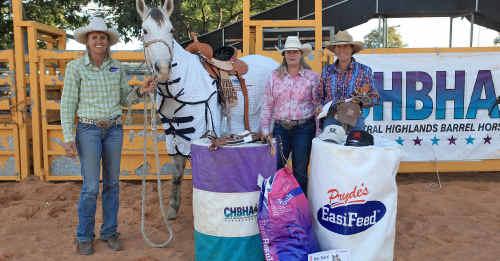 Futurity winner Leanne Caban and her horse Hotshot, CHBHA president Melinda Balderson and runner-up Adele Edwards of Gundagai.