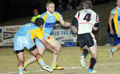 Gympie winger Ben Santowski pictured in defence against Nambour scored two tries against Beerwah on Saturday night.