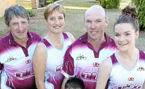 (Back, from left) Peter Grayson, Tanya Wright, Grant Lollback, Jessica Carey and (front) Mitchell Lollback will play touch rugby for Australia.