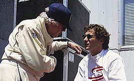 Dr Sid Watkins with the late racing car driver Ayrton Senna (right) in a still from the documentary on Senna's life.