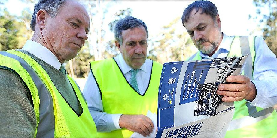 Coffs Harbour MP Andrew Fraser, Roads Minister Duncan Gay and Pacific Highway manager Bob Higgins inspect roadworks south of Urunga weeks after the Coalition won government.