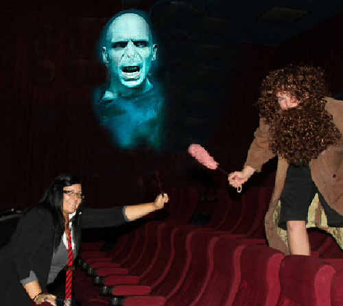 Jasmine Hall, as Parvati Patil, and Ryan Stoltz, as Hagrid, get ready to battle Lord Voldemort in the seventh and final film, Harry Potter and The Deathly Hallows: Part 2.
