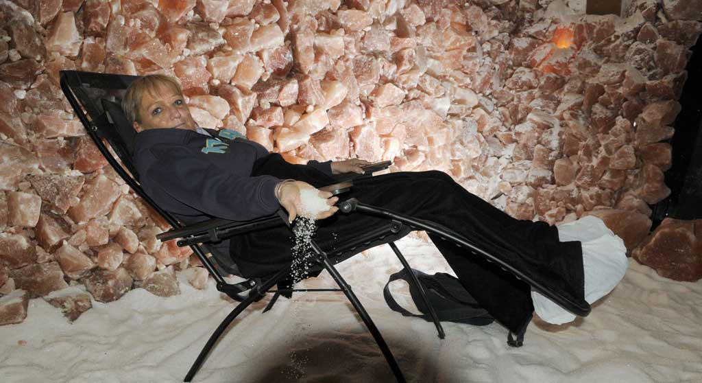 Toowoomba nurse Colleen Chant says the salt caves have helped relieve her emphysema symptoms.