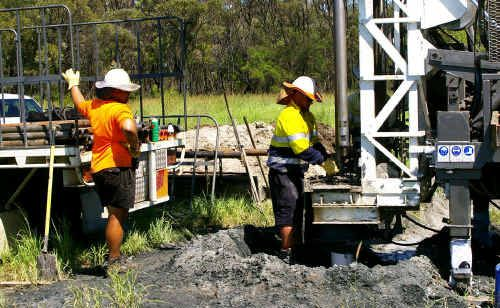 Bandanna Energy employees conduct drilling operations at Springsure Creek on what was later defined as Strategic Cropping Land in the Golden Triangle.