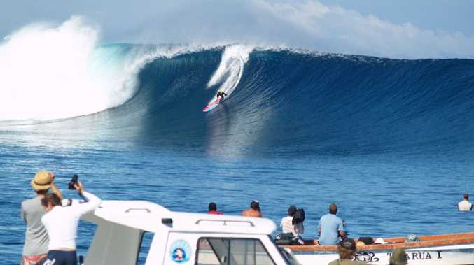 Coast surfers ride some solid swells at Cloudbreak in Fiji generated from a low pressure system near Australia
