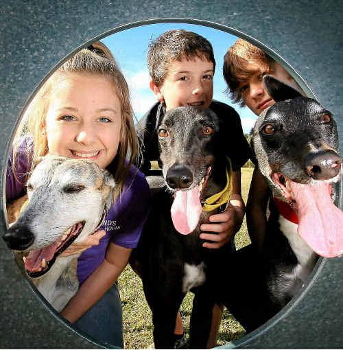 Kate Meteyard, Ben Hutchinson and Alec Seymour at the Mudgeeraba Friends of the Hound walk yesterday.