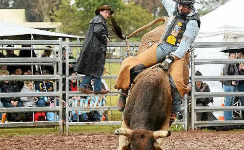 National bull riding champion Dave Kennedy put on a good show in support of his injured mate Bryce Daly.