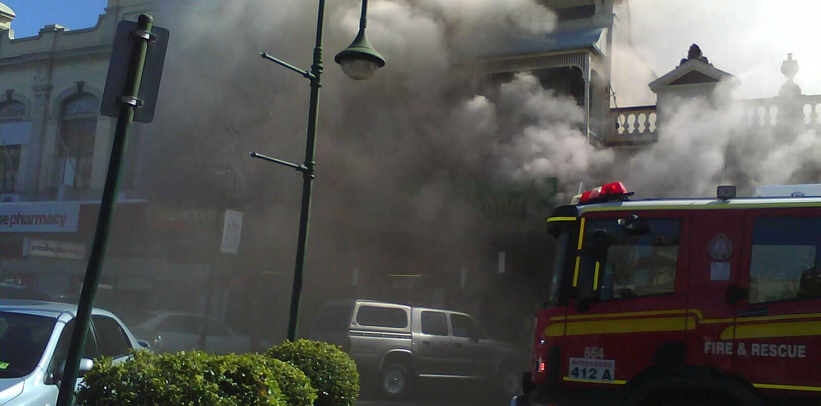 Bourbong Street in chaos as fire threatens a number of businesses.