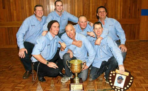 Moranbah North mine's team captain Luke Addis, back left, Carl Sykes, Karl Barnsdale and Mark Mackenzie and, front, Fallon Currier, Rod Coldrey and vice captain Bryn Lovett.