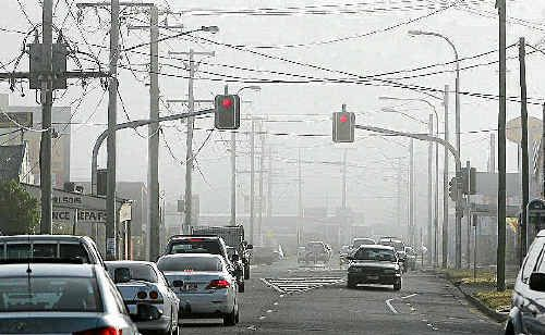 Fog engulfed the city of Ipswich yesterday morning as commuters made their way to work.