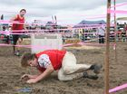 Jacob Bye makes it under an obstacle during the Fantastic Farmer competition final.