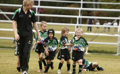 Emerald Junior Tigers players lap up the atmosphere during competition at McIndoe Park at the weekend.