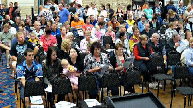 Some of the 400 people who packed the Moranbah Community Worker's Club on Tuesday night to oppose BMA's bid for a 100% fly-in, fly-out workforce