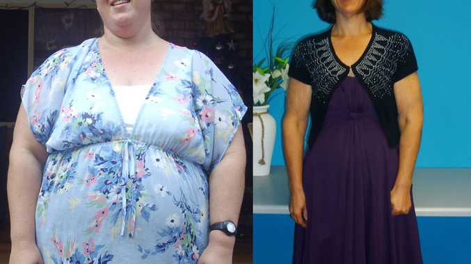 Sandra Beutel before and after she lost 66kg.