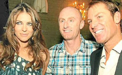 Sunshine Coast sports promoter Richard Fogerty rubs shoulders with Shane Warne and Liz Hurley (top), Jeff Fenech (right) and Mike Tyson.