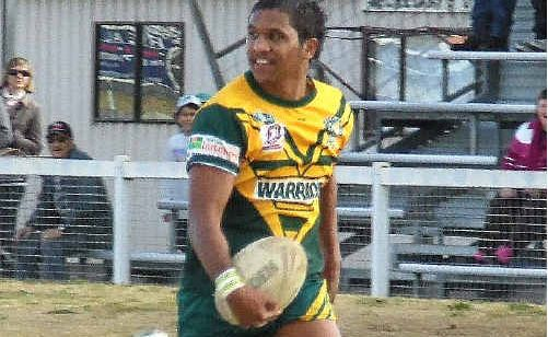 Winger Dale Dempsey airborne and try-bound in Wattles' 34 - 35 loss against Goondiwindi at Platz Oval last Sunday.