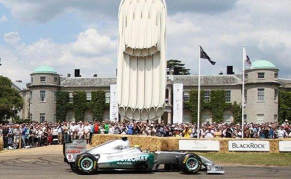 A Mercedes formula one car at Goodwood House.