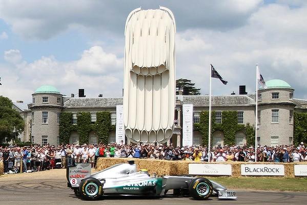 A Mercedes formula one car at Goodwood House.