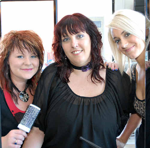 Mackay hairdressers at new salon Avaia Hair, from left, Destiny Feeney, owner Skye Hayes and Madi Algar.