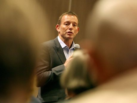 Federal Opposition Leader Tony Abbott fields questions on the carbon tax in Mackay.