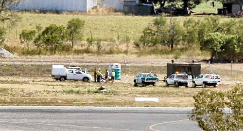 An exploding chemical toilet at Rockhampton Airport caused third degree burns to a man inside.