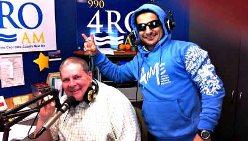 Petros Khalesirad promotes National Hoodie Day last week with radio host Michael J Bailey.