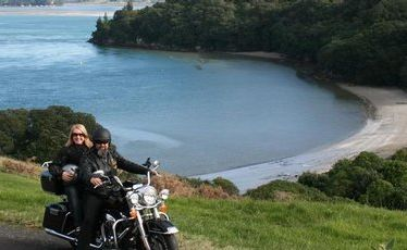Overlooking Anzac Bay near Waihi Beach on a Bularangi Motorbikes Harley driven by the owner of the business, Baz Howie.