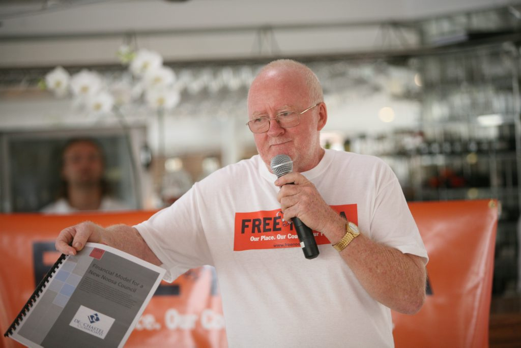 Noel Playford at the Noosa Independence Alliance (NIA) launch of new Noosa Council campaign.
