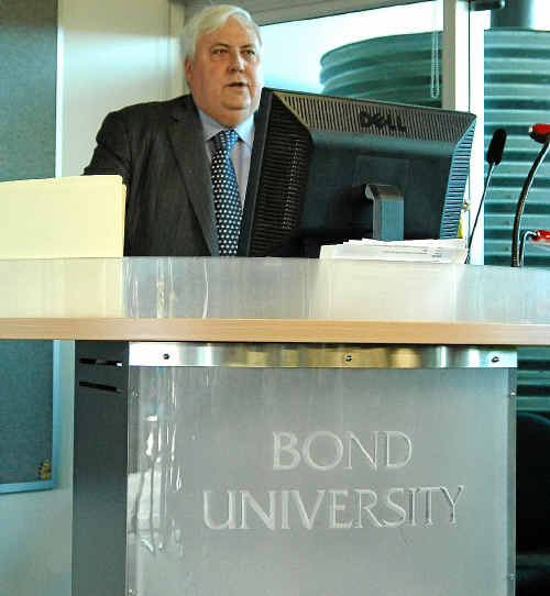 OPPORTUNITY LOST: Clive Palmer speaking at the Institute of Sustainable Development and Architecture at Bond University.