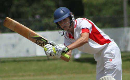 Australian All-Star Under-16 indoor cricket representative Brendan Cleaver plays a shot at McKittrick Park.