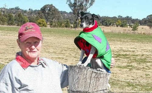 Jan Walker with dog Jenny June and Cathi Kelly with Bridie are ready for the Warwick Lure Coursing Club Field Trial on Sunday at Henry Joppich Park.