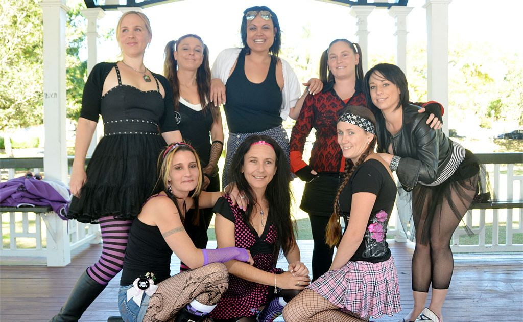 Roller derby girls (back from left) Jacinta Cook, Kylie Fresen, Anahlise Logue, Elise Shade, Jodie Smith, (front from left) Trudi Waters, Sandy Breese and Bree St John are hoping to set up a local competition.