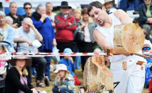 Woodchopper Nick Neilson from Gloucester at Glenreagh Timber Festival.