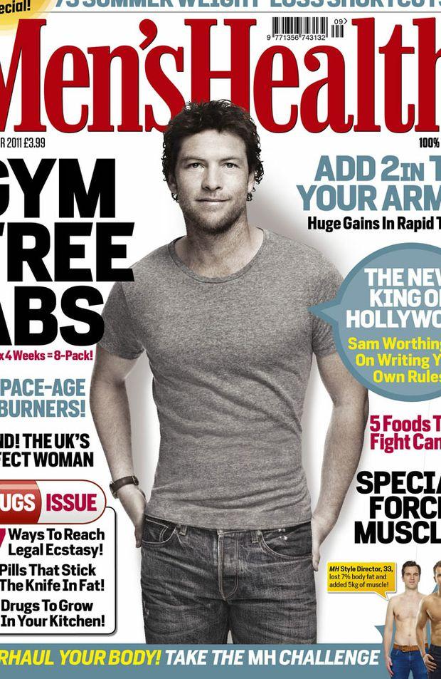 Sam Worthington appears on the September cover of UK Men's Health.