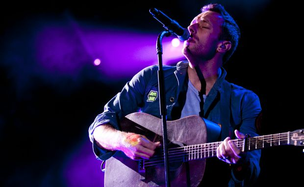 Chris Martin from Coldplay perform on Sunday night at Splendour in the Grass, 2011.