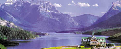 MAJESTIC: The Prince of Wales Hotel commands grand views from its hilltop site overlooking Waterton Lake and village amid Canada's Rockies.