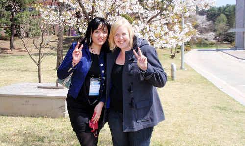 Bremer State High teacher Simone Clark (right) with her Korean teaching partner Taehyun Choi.