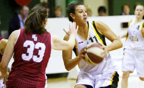 National league basketballer Emma Langford (right) will this weekend play her last game this season for Ipswich.