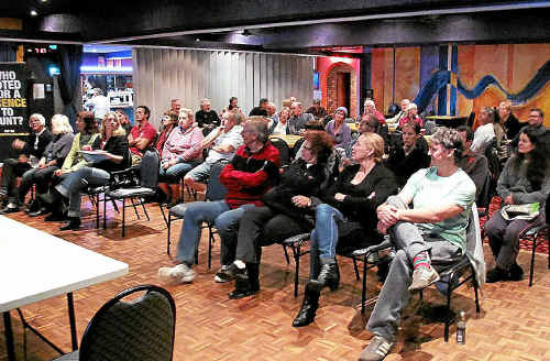 ABOVE: More than 70 people converged at Ocean Shores Country Club on Monday night to discuss the New Brighton off-leash dog exercise area.