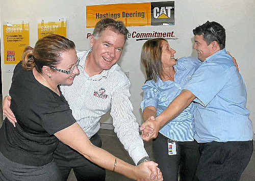 Practising their dance moves are, from left, Kristina Riemer, Bryan Loft, Charmayne Curry and Shane Johnson.