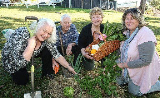 Nambour will soon have its own community gardens at Nambour Showgrounds. Diane and Ron Yates help out Nambour Community Gardens Inc. president Penny Hegarty and secretary Michelle McInnes.