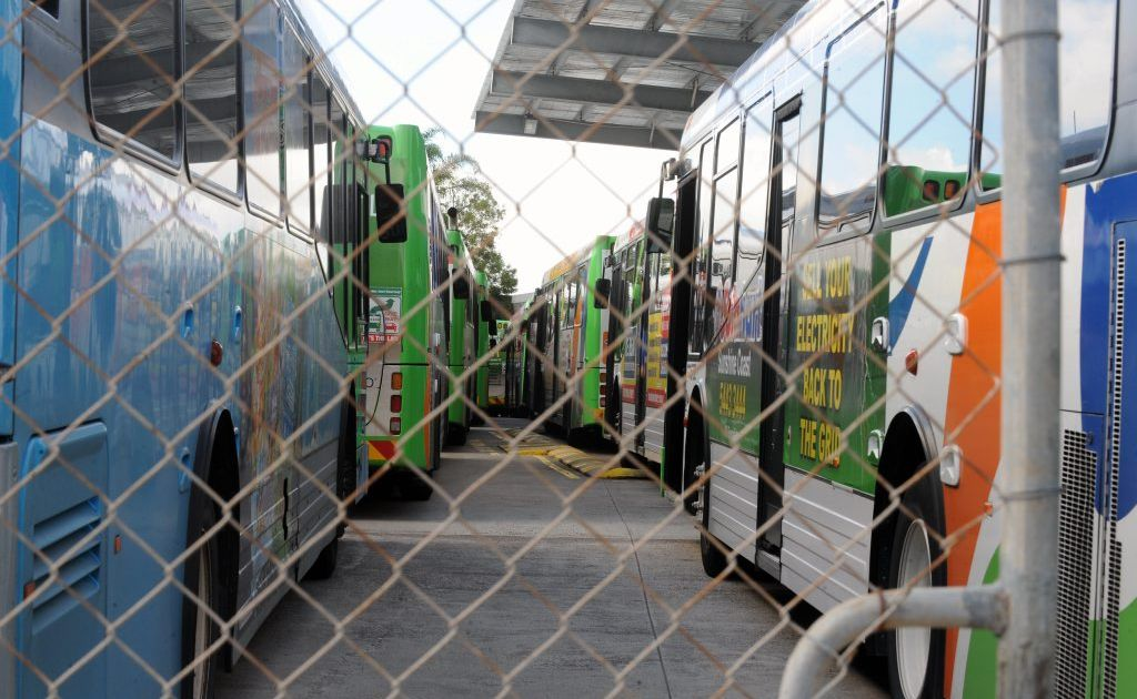 Buses in the Sunbus depot at Marcoola.
