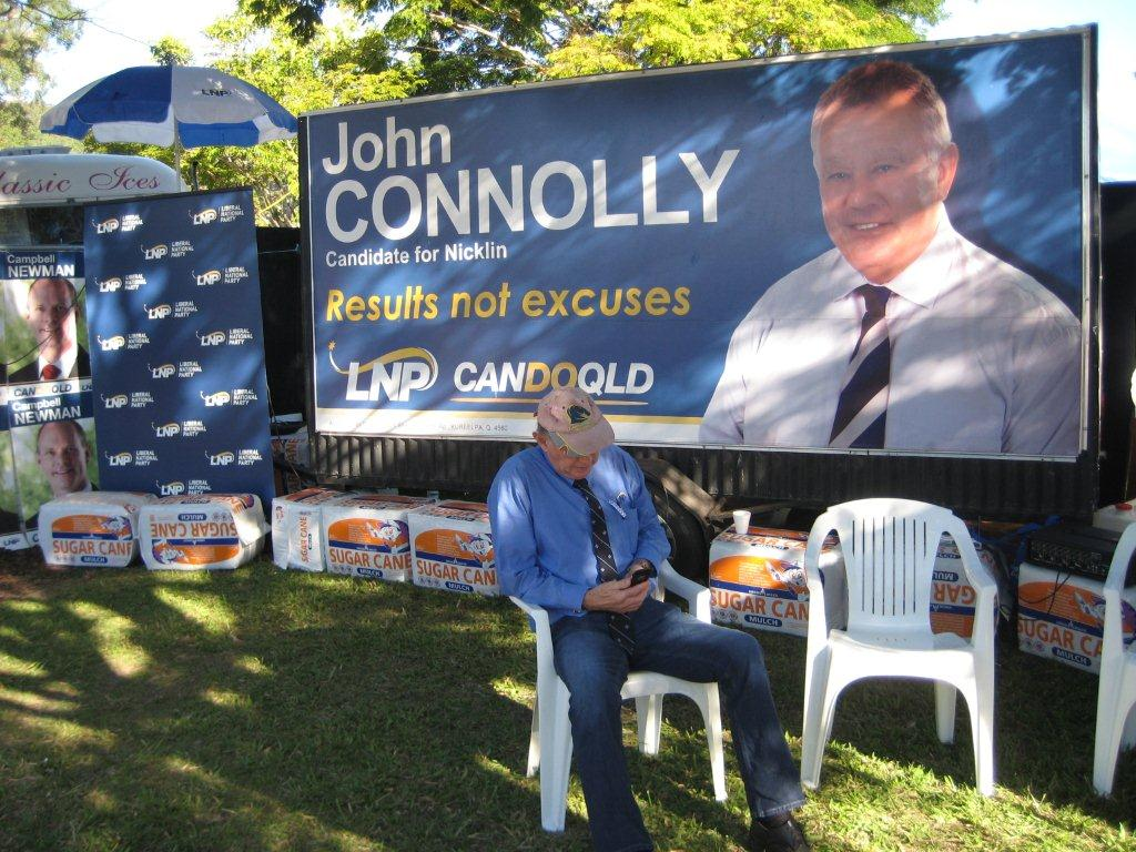 John Connolly with the stolen trailer at a display at the recent Nambour show.