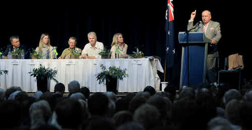 Radio presenter Alan Jones addresses the Forum on Australia's Food Security held at the Oakey Cultural Centre.
