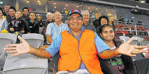 Stadium Mackay chairman Greg Sutherland, with his daughter Kirsten, welcomes the community to the new Mackay stadium.