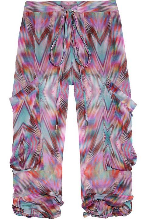Matthew Williamson ikat-print, sheer silk mousseline pants.