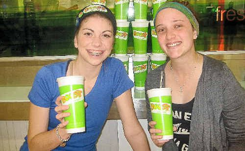 Laura Perry and Georgia Agius at Boost Juice Bar in Stockland Rockhampton, getting a taste for today's fundraiser to help Georgia through treatment for Hodgkin's Lymphoma.