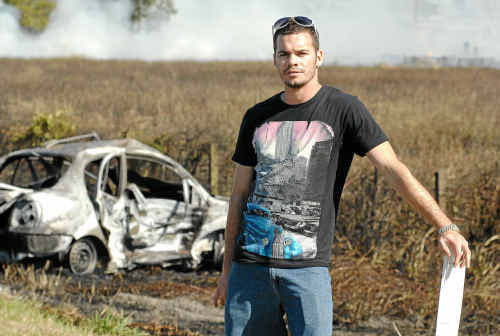 Maclean man Jack Purcell put his own life at risk to drag a woman from a burning car north of the Harwood Bridge on the Pacific Highway on Saturday.