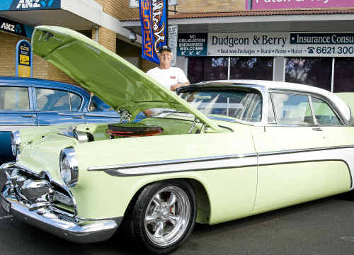Damien Veness with his restored 1955 Desoto Fireflight Sportsman Hardtop, winner of the most desired car at the Classic Car Show.